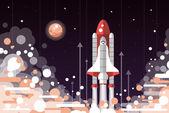 Modern flat design illustration of space shuttle launch