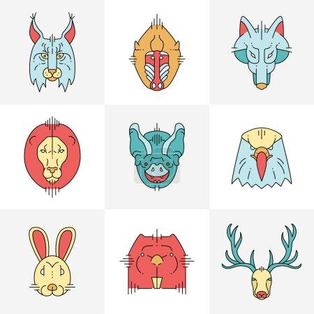 Photo pour Ensemble d'animaux vectoriels icônes plates linéaires, étiquettes, illustrations pour votre design - image libre de droit