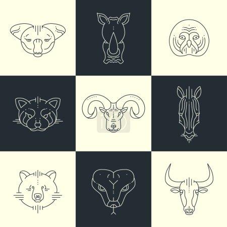 Set of animals linear flat icons, labels, illustrations for your design. Koala, rhino, owl, red panda, big horn, zebra, bear, snake, bull