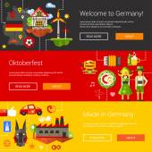 Set of flat design flyers headers with Germany travel tourism icons and infographics elements