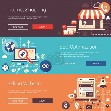 Modern flat design business headers set with icons and infographics elements. Conceptual banners of selling website, SEO optimization, internet shopping