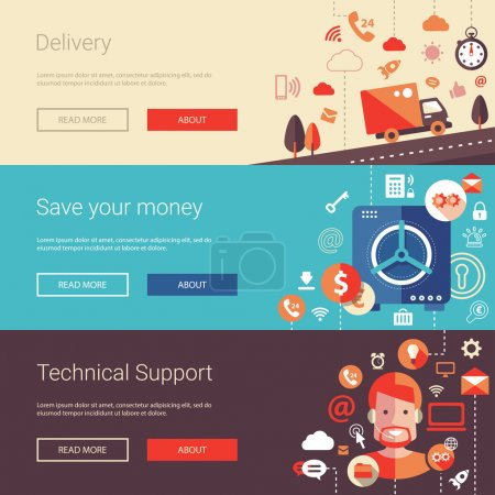 Illustration for Set of vector modern flat design business banners, headers with icons and infographics elements. Delivery, technical support and save your money - Royalty Free Image
