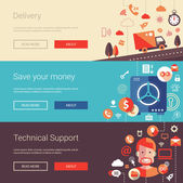 Set of modern flat design business banners headers with icons and infographics elements Delivery technical support save your money