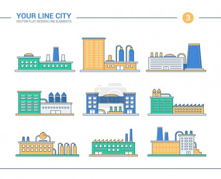 Set of line flat design industrial buildings icons. Factories