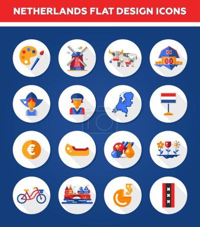 Illustration pour Ensemble d'icônes de voyage et d'éléments d'infographie hollandais vectoriels avec des points de repère et des symboles néerlandais célèbres - image libre de droit