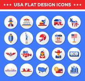 Set of flat design USA travel icons infographics elements with landmarks and famous American symbols