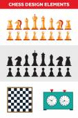 Flat design isolated black and white chess figures with chessboard clock Collection of the king queen bishop knight rook pawn