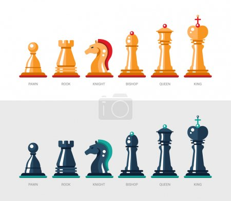 Flat design isolated named chess icons. Collection of the king, queen, bishop, knight, rook, and pawn