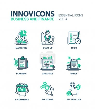 Set of modern office thin line flat design icons, pictograms. Business and finance infographics objects, web elements. Marketing, start up, to do list, planning, analytics, office, e-commerce