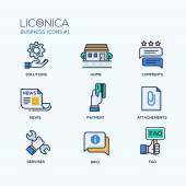 Set of modern office thin line flat design icons and pictograms Business infographics objects web elements Solutions home comments news payment attachments services info faq