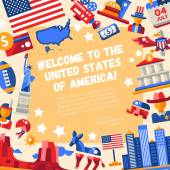 Flat design USA travel flyer with icons famous American symbols