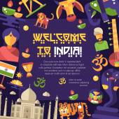 Flat design India travel flyer with famous Indian symbols icons