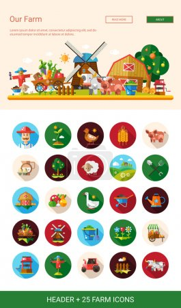 Flat design farm, agriculture icons and elements with header