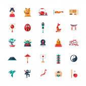 Flat design Japan travel icons infographics elements with Japanese symbols