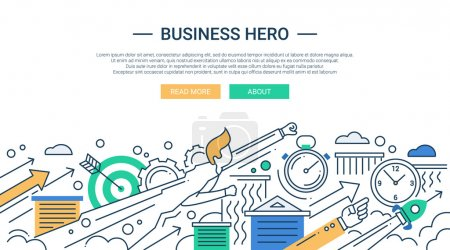 Business hero line flat design banner with superhero businessman.