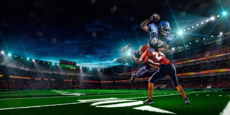 Photo for American football player in action at game time - Royalty Free Image