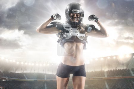 American football woman player