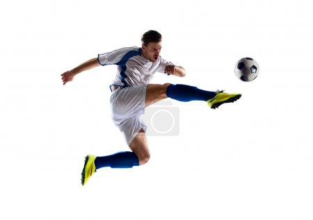 Photo for Football soccer player in action  isolated white background - Royalty Free Image