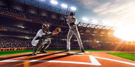Photo pour Joueurs de baseball professionnels sur la grande arène - image libre de droit