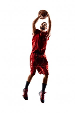 Photo for Basketball player in action isolated on white background - Royalty Free Image