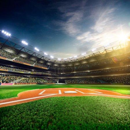 Photo pour Grande arène professionnelle de base-ball dans la lumière du soleil - image libre de droit
