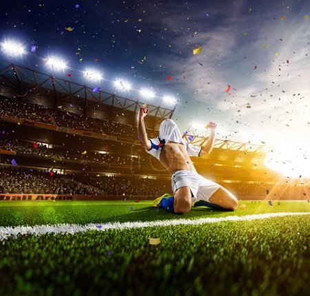 Photo for Soccer player in action on sunny stadium background - Royalty Free Image