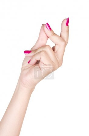 Female snapping hand isolated on white background...