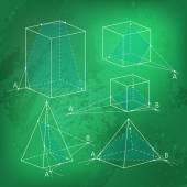 Math picture - sections of polyhedra Geometry background on chalkboard