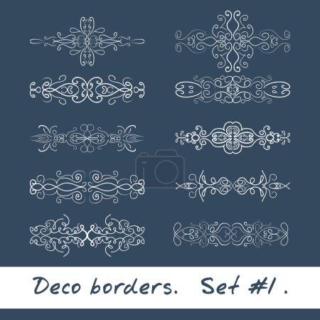 Ten decorative borders in white color. Set 1.