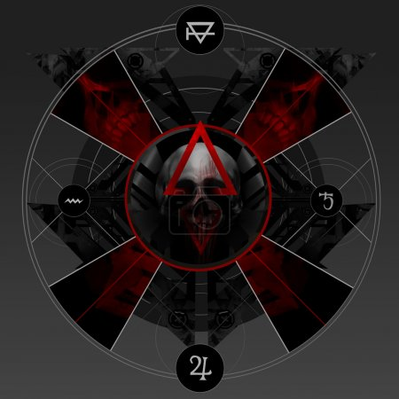 Abstract alchemy bloody pentacle sign with skull, ...