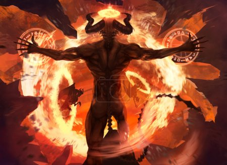Photo for Burning diabolic demon summons evil forces and opens hell portal with ancient alchemy signs illustration. - Royalty Free Image