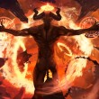 Burning diabolic demon summons evil forces and ope...