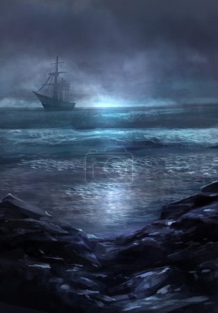 Illustration of a cold dark blue sea landscape and...