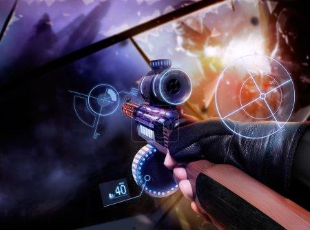 Hand in gloves holding machine-gun.