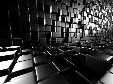 Abstract Dark Metallic Cubes Wall