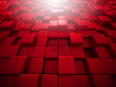 Abstract Red Cube Blocks