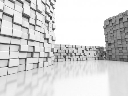 White cubes wall