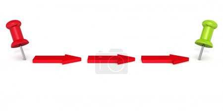 red arrows and pins