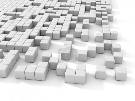 White cubes abstract 3d background