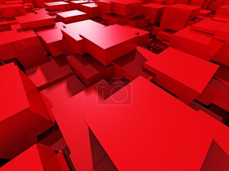 Red Shiny Blocks Abstract Background