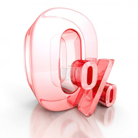 Zero percent red curved sign