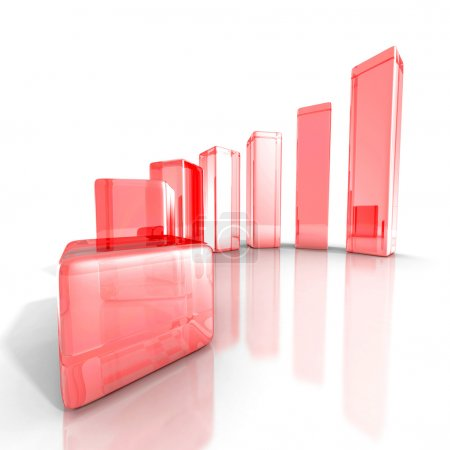 success red glass business graph