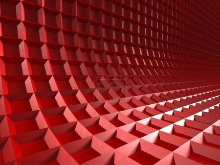 roter Würfel blockiert Wandhintergrund