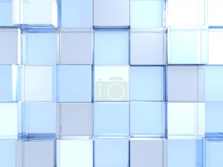 Futuristic Blue Glass Shiny Cubes Background