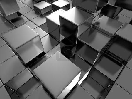 Photo pour Résumé Blocs métalliques sombres brillants Fond. Illustration de rendu 3d - image libre de droit