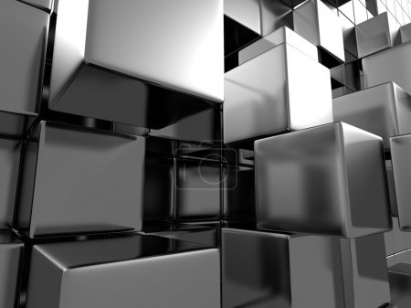 Abstract Silver Metal Cubes Background