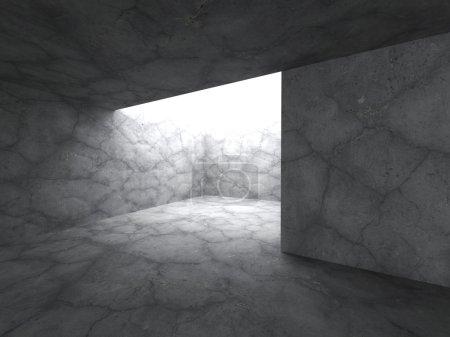 Dark concrete basement room
