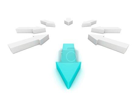 Leader different blue arrow