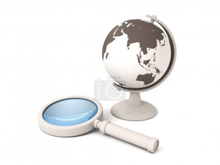 School world globe and magnifying glass