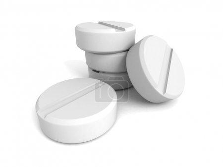 Photo for White medical drug painkill pills. 3d render illustration - Royalty Free Image